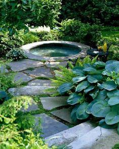 Gartenteich Bilder kreative Gartenideen Teich rund Steintreppen