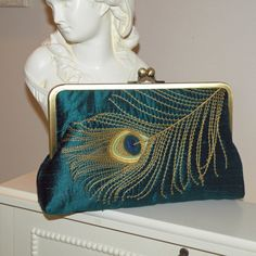 Peacock Feather Silk Bridal Clutch/Purse/Bag..Black/Gold..Bridesmaid/Wedding/Birthday Gift..Party..Free Monogram..Embroidery