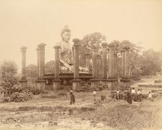 Photograph from the Curzon Collection, of a colossal Buddha statue at Wingaba, Rangoon (Yangon), taken by Watts and Skeen in the 1890s. The British Library