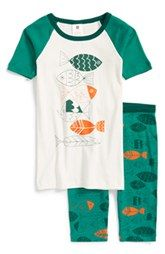 Tea Collection 'Fish School' Two-Piece Fitted Pajamas (Toddler Boys, Little Boys & Big Boys)