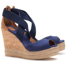 Tory Burch Peep-Toe Cork Sandal Wedges ($99) ❤ liked on Polyvore featuring shoes, sandals, wedges, heels, navy blue, tory burch sandals, wedge sandals, peep toe sandals, cork sandals and navy sandals