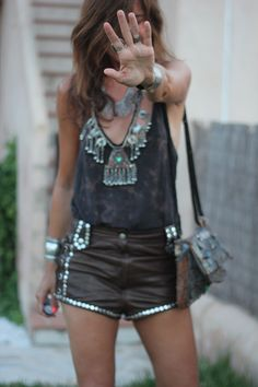 ☆ ℛebel ℬelle ๑ studded shorts + simple shirt to give off statement necklace
