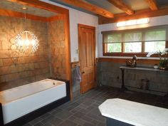 Lisa Scheff Designs - Rustic yet glamorous bathroom design. Perfect little retreat.
