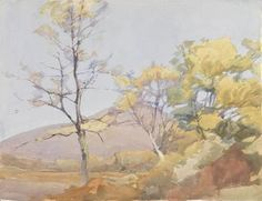 A bright and colourful watercolour landscape by Archibald Knox (1864-1933) of a group of trees coming into spring foliage. In contrast to many of Knox's watercolours which depict grey brooding skyscapes, this is an extremely colourful scene of pale yellows and greens contrasting against the warm ochres of the land beneath. The artist is said to have painted his watercolour scenes in a few hours or less, but that he would also sit for hours waiting for the exact light conditions that he…