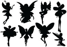 Awesome Fairy Silhouette Vectors as a Vintage collection.  Welcome to the magical fantasy world of fairies. Awesome fairy silhouette vectors with wide wings and shapes. Perfect for a Halloween day graphics, fantasy illustrations and many. ...