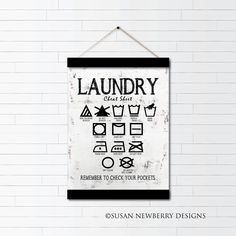 Excited to share the latest addition to my #etsy shop: Laundry Wall Art - Laundry Cheat Sheet - Machine Wash Hand Wash Hang Dry Iron Canvas Wall Hanging