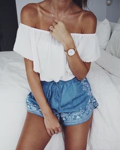 Embroidered shorts and off the shoulder top