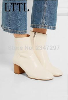 77.96$  Buy now - New Spring Style Sweet Side Zip Ankle Women Boots Chunky Heel Round Toe Pumps Elegant boots women Lady Shoes  #aliexpress