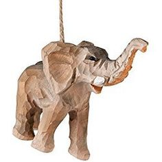 Elephant Christmas Ornament Carved Wood