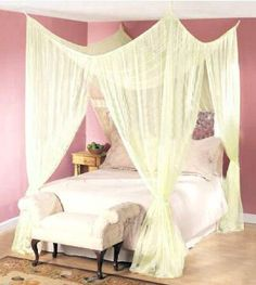 Dreamma 4 post bed canopy four corner mosquito bug net queen king size insect – Hazir Site 4 Poster Bed Canopy, Bed Net Canopy, Canopy Bed Curtains, Diy Canopy, Bed Canopies, Curtain Over Bed, Corner Curtains, Curtain Room, Canopy Bedroom