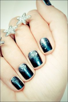 navy nails with silver ombre glitter    && i want that ring