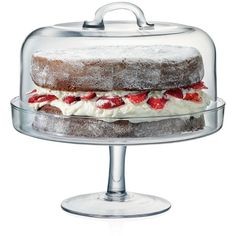 Lsa Serve Cake Stand & Dome ($130) ❤ liked on Polyvore featuring home, kitchen & dining, serveware, clear, cake serving plate, cake serving platter, lsa international and serving pedestal