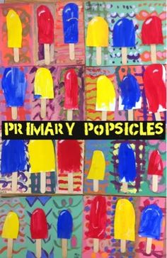 First grade, tempera and collage, about 2 sessions Painting the primary stripes which will become the...