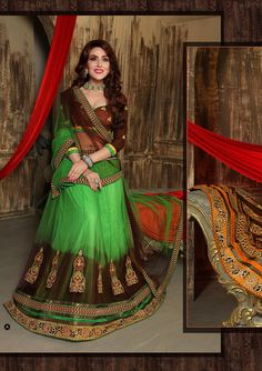 Designer Latest Parrot And Brown Lehenga Choli