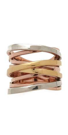Michael Kors Brilliance Tri-Tone Intertwined Ring | SHOPBOP