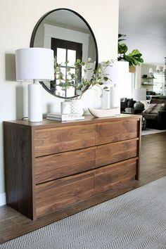 Our Form Function Entry - Chris Loves Julia Dresser Top Decor, Sideboard Decor, Dresser Styling, Home Bedroom, Bedroom Decor, Master Bedroom Design, Bedrooms, Bedroom Dressers, New Room