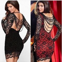 Regular/Plus Size Backless Beaded Lace Dress Black/Red/Blue