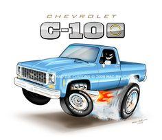 73 through 79 Silverado Truck, C10 Chevy Truck, C10 Trucks, Car Illustration, Illustrations, Caricature, Plastic Model Cars, Truck Art, Square Body