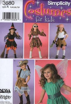 FREE US SHIP Sewing Pattern Simplicity 3680 Girl's Costume Cowgirl Angel Pirate Witch Hippy New Size 3-8 Toddler Uncut Size 3 4 5 6 7 8 by LanetzLivingPatterns on Etsy