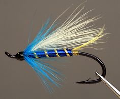 This fly was invented in 1987 by Len Rich for fishing the Margaree  River in Nova Scotia.  Len is the author of a book called Newfoundland Salmon flies.  Hook:  Up eye Atlantic salmon hook Tag:  Oval