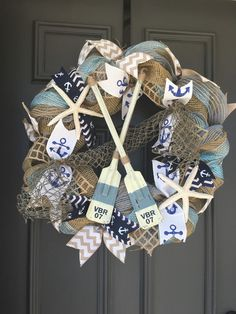 Ready to ship TODAY. This nautical wreath is perfect for spring and summer, boating season, a seaside condo, or anyone with a love for Coastal Wreath, Nautical Wreath, Coastal Decor, Beach Wreaths, Wreath Crafts, Diy Wreath, Diy Crafts, Wreath Ideas, Anchor Wreath