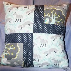 Handmade patchwork fox cushion <3