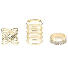 Charlotte Russe Gold Stacked & Rhinestone Rings - 3 Pack by Charlotte... ($6) ❤ liked on Polyvore featuring jewelry, rings, gold, charlotte russe, stackable rings, yellow gold jewelry, gold rhinestone jewelry and rhinestone rings