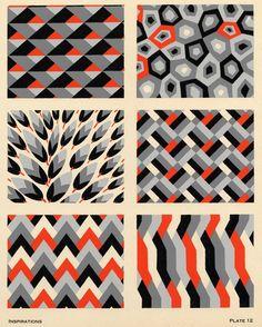 Art Deco Pattern  - orange white grey black