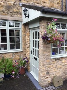 Browse thousands of interior and exterior images from Farrow & Ball. Be inspired with stunning home decor images and design ideas for your home. Cottage Front Doors, House Front Porch, Cottage Porch, Front Porch Design, Bungalow Exterior, Cottage Exterior, House Paint Exterior, Porch Extension, House Extension Design