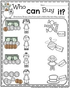 Money Worksheets for Grade . How fun are these Money Worksheets for Grade! Count your earnings, do some cut and paste action, and hey, go shopping for Counting Money Worksheets, Money Activities, 2nd Grade Worksheets, Measurement Worksheets, Learning Money, Teaching Math, Maths, Teaching Time, Preschool Learning