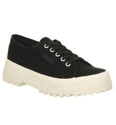 Superga 2555 Trainers Black Off White Exclusive - Hers trainers Office Store, Black Converse, Comfy Shoes, Superga, Off White, Trainers, Sneakers, Stuff To Buy, Tennis