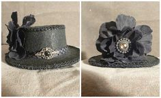 """All Black mini hat, fascinator decorated with vintage jewelry, and a black flower. This size is 2 1/2 inches tall and 5 1/2 inches in diameter. For sale for $30. Look On Facebook For """"Absolutely Fascinated"""""""