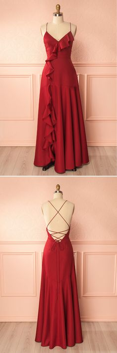 Simple open back spaghetti straps ruffles long party dress
