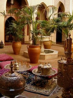 A stunning Moroccan courtyard with gorgeous Moroccan decor elements.