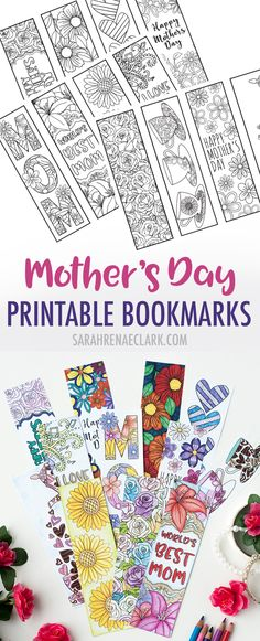 Color and make these Mother's Day bookmarks for a special mom! Includes 12 printable bookmarks to color in   Find more Mother's Day printables and coloring pages at https://sarahrenaeclark.com/shop/cat/seasonal/mothers-day/