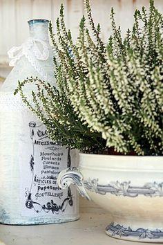 White heather in a vintage arrangement./Białe wrzosy w vintagowej aranżacji.