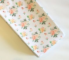 Spring florals changing pad cover  | minky changing pad | peach coral flowers | floral nursery | flower nursery | baby girl nursery ideas | floral baby shower | by Wilder and Bean