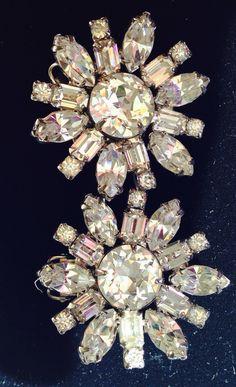 Weiss rhinestone clip on earrings- super sparklers!