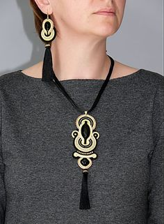 Beautiful, impressive soutache necklace, made of soutache strings with Onyx and glass beads. Necklace have been impregnated. Length of string: inches Colour: black, beige, ecru and gold. Soutache Bracelet, Soutache Pendant, Soutache Jewelry, Beaded Jewelry, Beaded Necklace, Fringe Earrings, Statement Earrings, Earrings Handmade, Handmade Jewelry