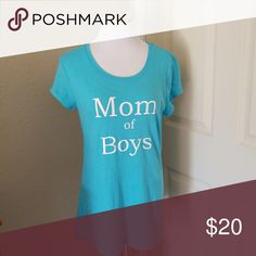 "Mom of Boys Top Baby Blue, short sleved No Boundaries Tee Shirt with custom white vinyl print ""Mom of Boys"" LG Tops Tees - Short Sleeve"
