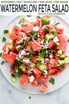 This quick Watermelon Feta Salad with Cucumber is a simple refreshing dish to make for that next summer bbq. Only 10 minutes to make and filled with fresh mint, basil, feta, cucumbers, red onion and watermelon for the ultimate summer bite. Marinated Steak Kabobs, Beef Kabobs, Tuscan Salmon Recipe, Salmon Recipes, Shrimp Recipes, Asian Cucumber Salad, Feta Salad, Side Salad Recipes, Kabob Recipes