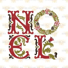 Ornate Noel svg SVG File SVG files Cutting file Cut files Christmas svg Holiday svg  Silhouette svg Cricut svg eps dxf French Country by HoneybeeSVG on Etsy