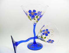 Items similar to Martini Glasses Cobalt Blue Flowers Gold Hand Painted Set of 2 on Etsy Painted Leaves, Hand Painted, Cobalt Blue, Blue Gold, Gold Hands, Paint Set, Gold Set, Blue Flowers, Martini