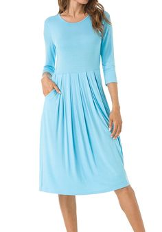 6d3d1e2f6b4 levaca Women s 3 4 Sleeve Pleated Loose Swing Casual Midi Dress With Pockets  at Amazon Women s Clothing store