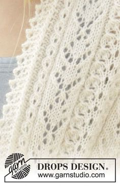 """Sweet Alicia - Knitted DROPS stole with lace pattern and small cables in """"Alpaca"""" and """"Kid-Silk"""". - Free pattern by DROPS Design Baby Knitting Patterns, Knitting Stiches, Lace Patterns, Lace Knitting, Drops Design, Gilet Crochet, Knitted Baby Blankets, Alpacas, Free Pattern"""