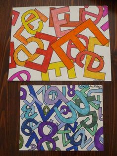 Jasper John's inspired Letter or Number Art with Warm or Cool Colors. http://creativityiscontagious.org
