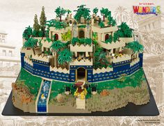 The Hanging Gardens of Babylon is the only one of the original Seven Wonders of the Ancient World that has not been located and hence the exact nature of its design is still a mystery. However this allowed designer and builder Mark Curnow more freedom when it came to building our LEGO version. He decided to use the famous pattern from Babylon's Ishtar Gate of golden animals on a dark blue lapis lazuli tiles to give the Gardens a striking external wall. The Gardens took just under 80 hours…
