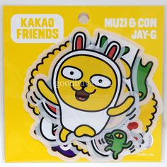 Kakao Friends - Clear Sticker (Muzi, Jay-G) Kakao Talk Emoticon Comic Character in Crafts | eBay