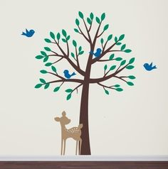 Tree with birds and fawn - Large Mural Tree Wall Decal. $84.00, via Etsy.  Reading nook.