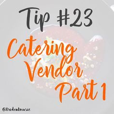 Tip #23 #tips - Catering Vendor Part 1 . Your wedding caterer will do far more than just prepare your wedding menu. Not only will he help coordinate the wedding reception timeline and the flow of the dinner but in most cases he'll also supply the tableware rentals stock the bar and bake the wedding cake (no pressure!). So how do you narrow down your list of potential pros and once you do what questions should you ask your wedding caterer? . Does the caterer have a license? Why you want to…